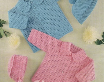 Babys Cardigan and Hat PDF Crochet Pattern . Babies Boy or Girl 18 - 20 and 20 - 22 inch . Crochet Jacket . Bonnet . Hat . Instant Download