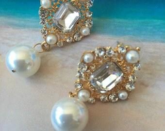 CZ diamond x Pearls earring