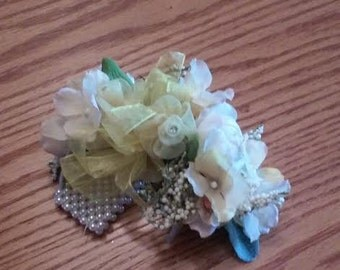 Wrist Corsage, Spring Boutonniere, White and Yellow Corsage, Pearl Wrist Corsage. Mother of the Bride Corsage, Mother of the Groom Corsage