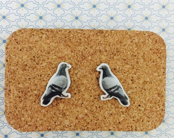 Pidgeon handmade stud earrings animal bird girl gift idea  free shipping international