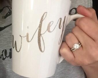 Bridal Shower Gift, Engagement Gift, Wifey Coffee Mug, wedding gift, bride to be, wife, wedding, Mrs, wedding gift, wifey