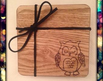 Owl themed coaster set!