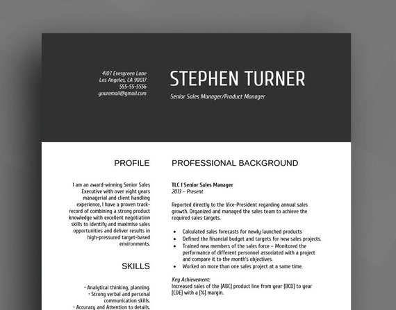 Professional Resume Template CV Template Cover