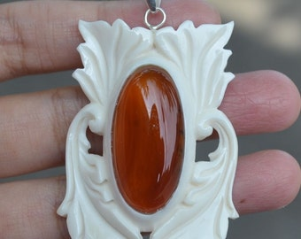Tribal Bali Carving in Natural Buffalo Bone Carved Pendant With 925 Steling Silver & Natural Indonesia Oval Red Cornelian Agate 60035144