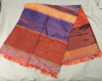 Scarf Colorful Taffeta Satin Vintage