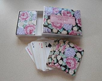 Vintage floral playing cards Pink, Purple, Black