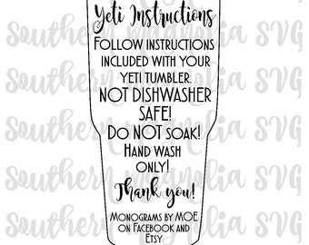 Yeti Care Card Instructions - Print and Cut File - Silhouette - Cricut - Care Instructions - SVG - Design - File ONLY