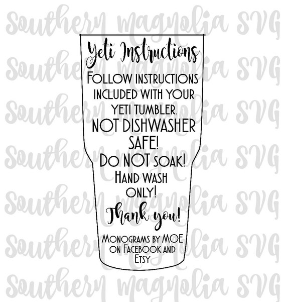 Yeti Care Card Instructions Print And Cut File Silhouette Cricut Care Instructions Svg