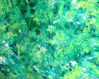 Acrylic Abstract Original Painting, Green Wall Art, Expressive Texture, Acrylic on canvas, Christmas Gift
