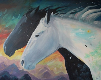 """Modern Abstract Horse Painting """"When Day and Night Meet"""" Acrylic painting on canvas by Brittany-Size:24""""x30"""""""
