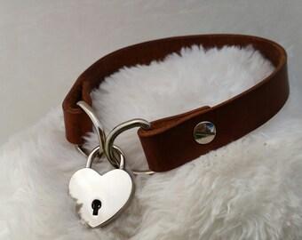 Heart Padlock Leather Collar, BDSM, Submissive Collar
