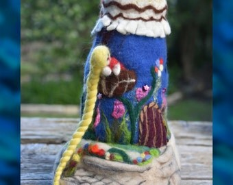 Felted Fairy House Rapunzel Castle Tower Girls Room Decor - Fairy Decoration - Felted Fairy House