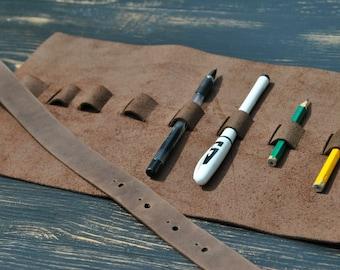 Pen roll Pencil roll Pencil holder Pen holder Pen roll case Pencil roll case Office case Brush roll Instruments holder Pencil organizer