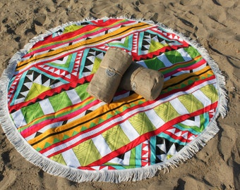 Round Beach Towel Party Monster by Soulmatestowel