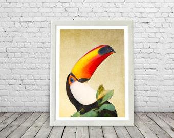Tropical Toucan Bird Print, Paradise, Rainforest birds, Brazil, Yellow, modern, toucan posters