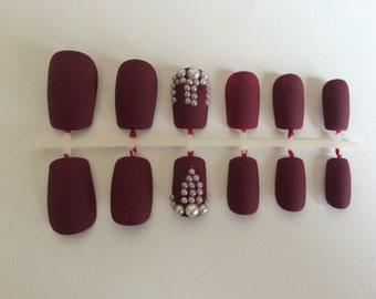 A set of handpainted false nails: matte burgundy nails with pearl design/matte nails/burgundy nails/dark red nails/plum nails/pearl nails