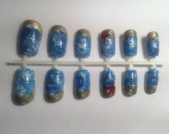 A set of handpainte false nails: ocean nails/watermarble nails/beach nails/sea nails/blue nails/summer nails/nail art/pearl nails/storm nail