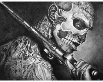 Rick Genest, zombie boy,47 ronin, Original pencil drawing ,pencil drawing,custom portrait,interstellar,portrait on paper,  illustration,