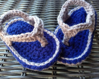 Crochet Baby Boy Sandals - Baby Boy Shoes - Baby Shower Gift - Blue Flip Flops - Baby Footwear - Baby shoes - Baby boy sandals