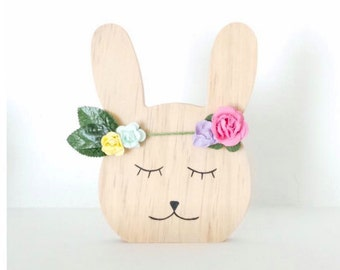 wood flower Bunny