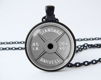 Barbell necklace Dumbbell necklace Weightlifting Fitness necklace Trainer gifts Fitness jewelry Barbell pendant Dumbbell pendant Workout
