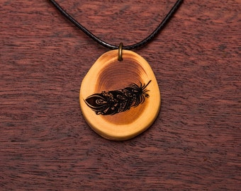 Spring, wood necklace, up to 3 cm, unique