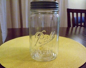 Vintage Quart Sized Ball Canning Jar with Glass Top