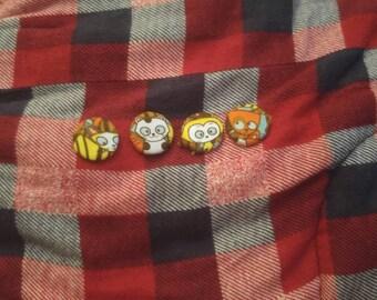 Cartoon Cat Pinback fabric buttons