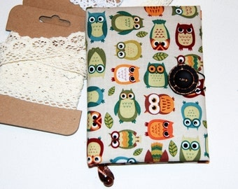 Notebook journal diary handmade Owl multicolor gray fabric Vintage style Mother's Day gift women  for girlfriends