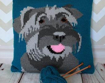 Knitting Pattern PDF Download - Miniature Schnauzer Pet Portrait Pillow Cushion Cover