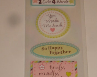 NEW ~ Dimensional Scrapbook Stickers Love / Crazy About You Embellishments