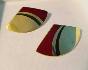 Laurel Burch Cloisonne Pierced Earrings Vintage (LP144)