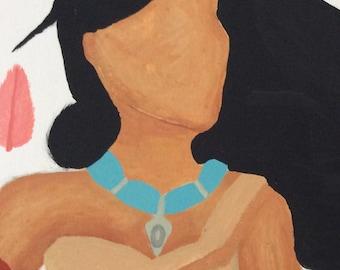 Pocahontas & Feathers 16x20 Canvas Disney Painting