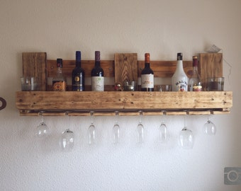Upcycling pallet rack flambéed bar wine rack from EPAL pallet furniture 120x35cm