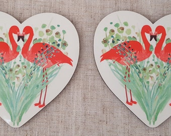 Set of Two Heart Shaped Coasters with Flamingo design