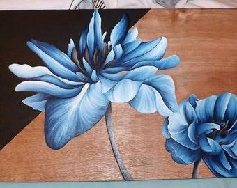 Blue Chrysanthemum Oil on Wood Panel