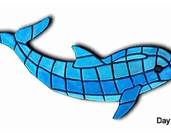 Dolphin Mosaic - Glow in the Dark