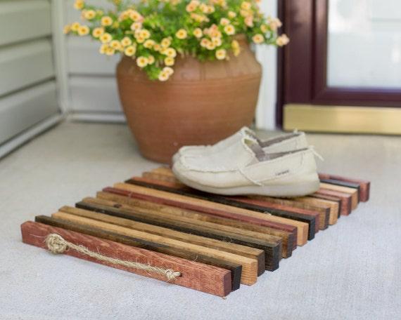 Reclaimed Scrap Wood Shoe Tray or Door Mat with Rope Handles