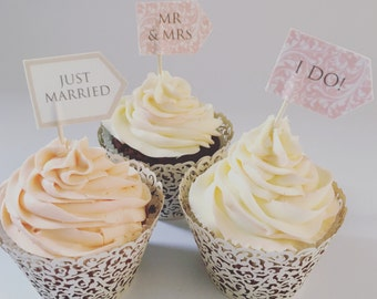 Personalised Wedding cupcake toppers