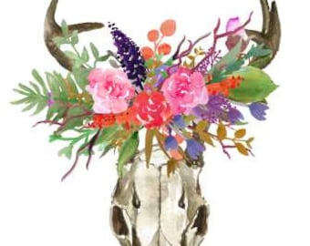 Deer Skull, Antlers with Flowers, Horns with Flower Bouquet, Bohemian Print, Boho Decor, Wall art Home & Office Decor.