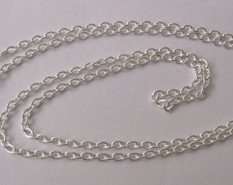 Genuine SOLID 925 STERLING SILVER Italian Fine Chain Necklace with Bolt ring Clasp 45 cm