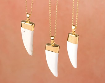 White Turquoise Tusk Necklace Gold Dipped Statement Necklace White Horn Necklace White Howlite Necklace Summer Jewelry Boho Necklace