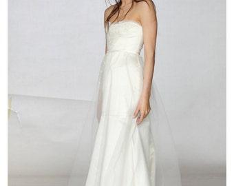 Rustic Wedding Dress, Strapless Wedding Dress, Wedding Dress, Bridal Silk Gown, Fall Wedding Dress, White Formal Dress, Unique Wedding Dress