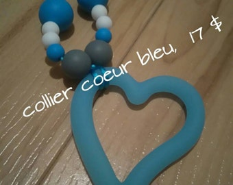 Teething blue heart necklace