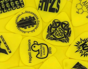 Custom Guitar Picks on Yellow Delrin with Black Print - Make with your Image