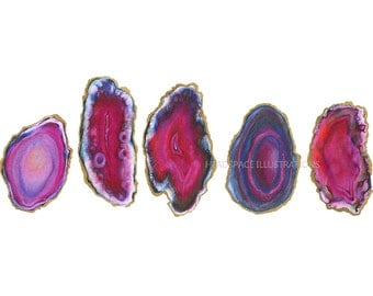 Gold Rimmed Fuchsia Pink Agate Slice Geode Colored Pencil Drawing Art Print by Headspace Illustrations HeadspaceIllustrates