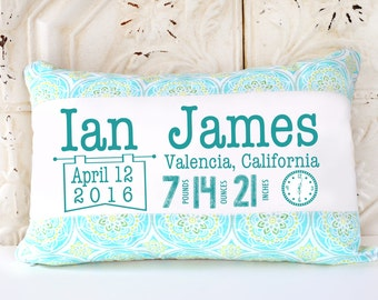 Custom baby pillow etsy birth announcement pillow custom pillow baby gift nursery pillow personalized gift negle Image collections