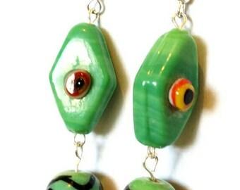 Green glass bead earrings  - dangle earrings - green jewelry - green bead jewellery