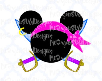 Pirate Girl Mouse Head SVG,EPS,PNG,Studio