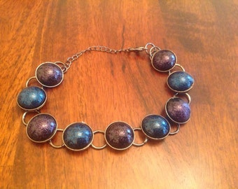 Handcrafted purple and blue cabachon bracelet